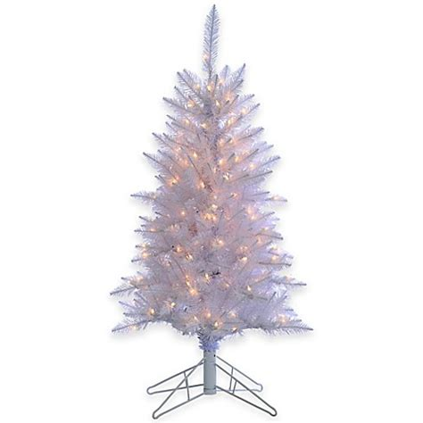 4 foot white tinsel pre lit christmas tree with clear