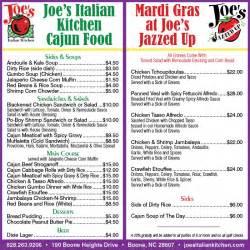joes cajun menu high country press