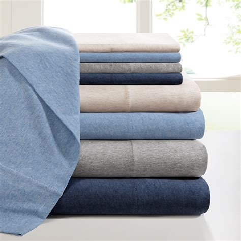 jersey knit sheet set ink heathered cotton jersey knit sheet set ebay