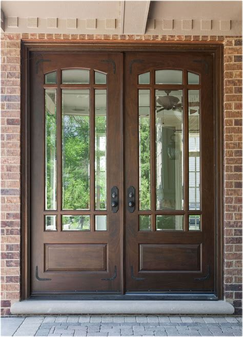 wood front doors ideas  stained glass interior