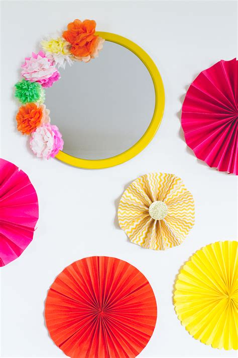 Decorating Home For Diwali Diy Crepe Paper Flower Mirror Decor Diy Mexican Fiesta