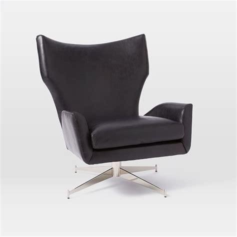 swivel armchair leather hemming leather swivel armchair west elm