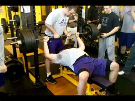 500lb bench press jamie meder ashland football 500 lb bench press youtube