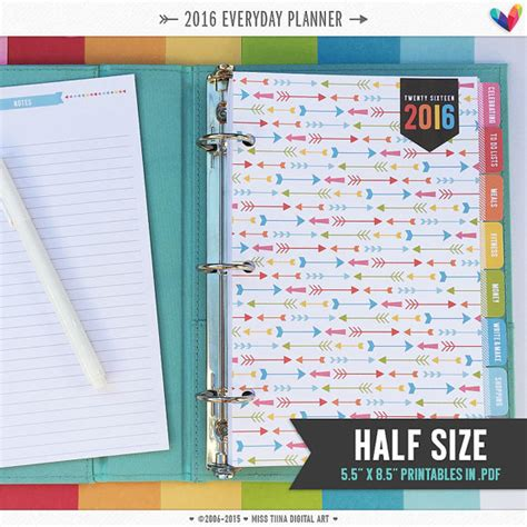 free printable planner 2016 personal size h 2016 everyday planner pages pdf 5 5 x 8 5 a5 by misstiina