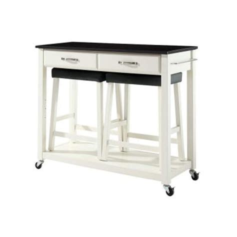 kitchen island cart with stools crosley 42 in solid black granite top kitchen island cart