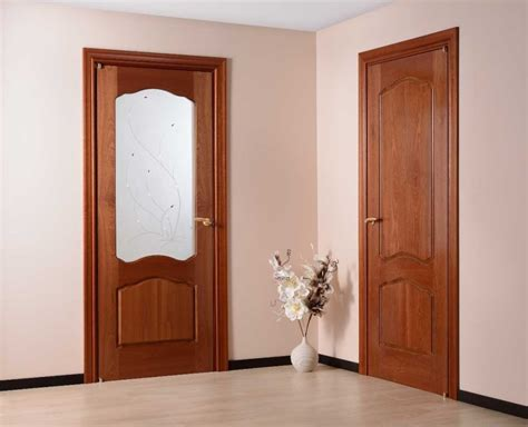 Brown Interior Doors Light Brown Wooden Single Door With Two Stripped Frosted Glass Also Silver Steel Handler