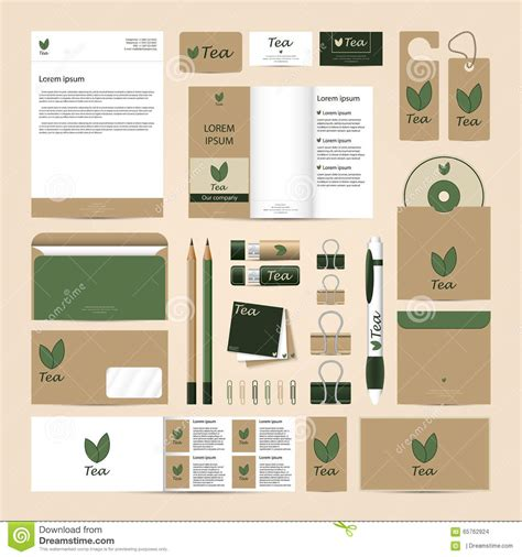 tea card template customize corporate identity template set eco tea mock up stock