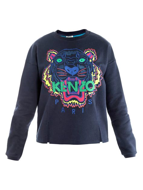 Sweater Kenzo Tiger Kenzo Tiger Embroidered Sweater In Blue Tiger Lyst