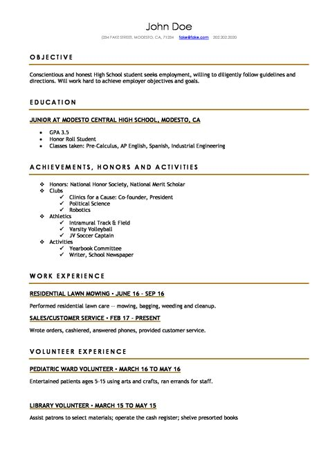High School Resume Resumes Perfect For High School Students Resume Template For High School Student