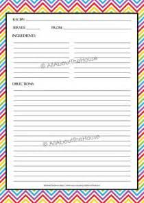 fillable recipe card template editable printable chevron recipe template recipe card