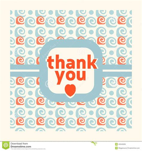 thank you card design template stock vector image 43345009