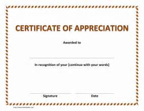 templates for certificates of appreciation certificate of appreciation freewordtemplates net