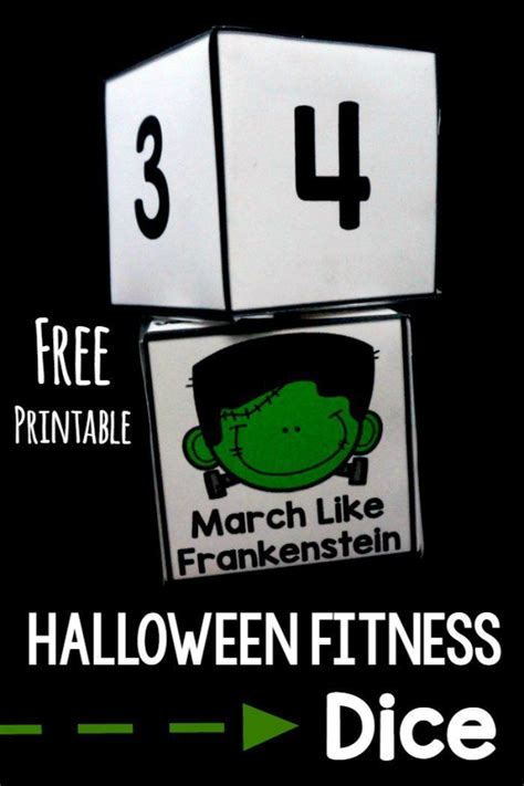 printable exercise dice halloween fitness dice free dice gross motor free