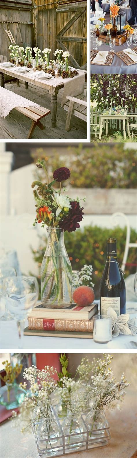 vintage glass bottles wedding table centre piece