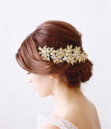Faux Pearl Leaves Headpiece gold bridal headpiece ellwood bridal leaf headpiece