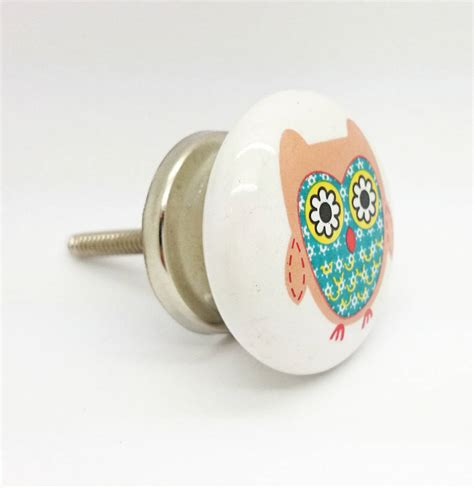 owl cupboard ceramic door knob drawer pull handle by g