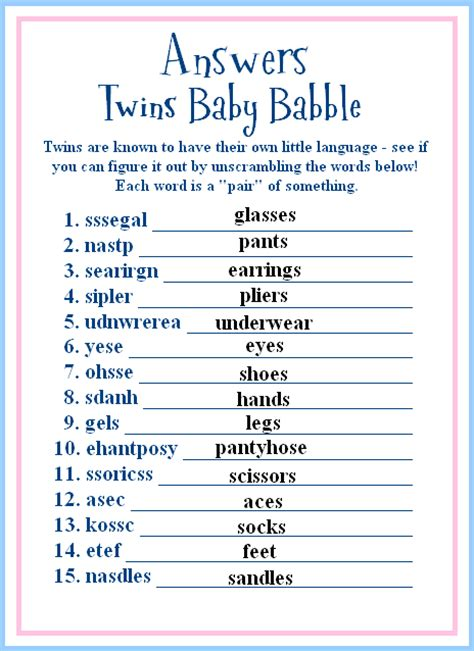 Baby Shower Word Scramble And Answers by Armstrong Baby Shower
