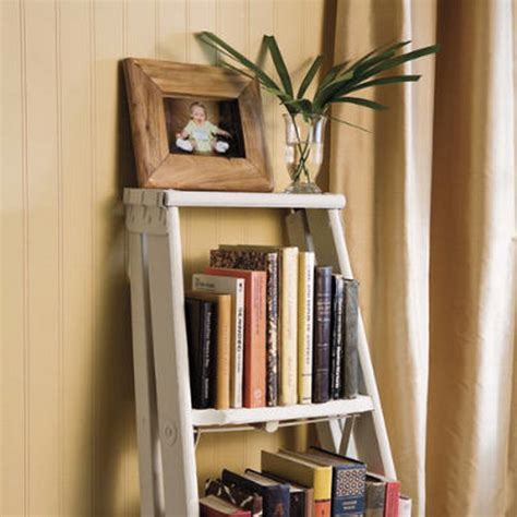 Ladder Bookshelf Decorating Ideas by Wooden Ladders Become Unique Rack For Home And Garden