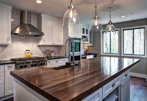 Stainless Steel Backsplash Kitchen walnut kitchen island transitional kitchen other