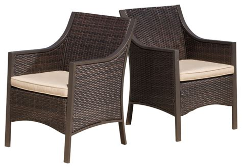 outdoor wicker dining chairs gdfstudio orchard outdoor brown wicker dining chair with