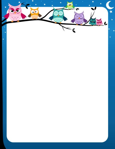 printable owl border paper page border with colorful owls on a tree limb and a