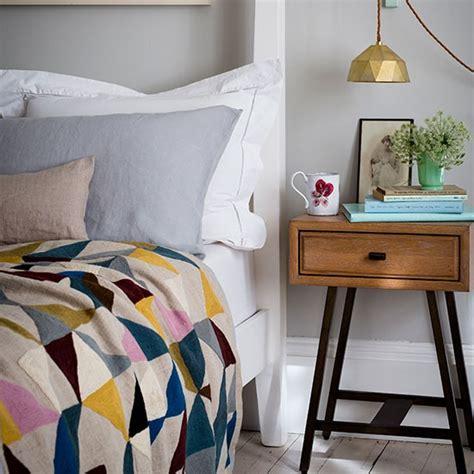 bedroom bedside soft grey bedroom with geometric bed throw bedroom