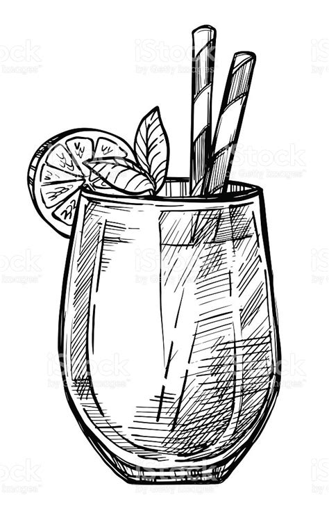 Alcoholic Cocktail Hand Drawn Sketch Stock Vector Art