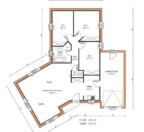 Plan Maison Plain Pied 2 Chambres 3694 by Architectures Plans De Maisons Plain Pied Plan De La