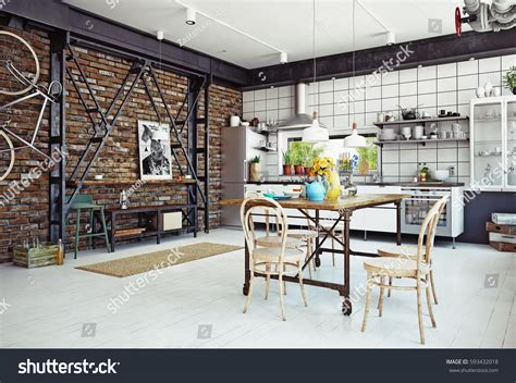 modern kitchen interior 3d rendering modern loft kitchen interior 3d rendering stock