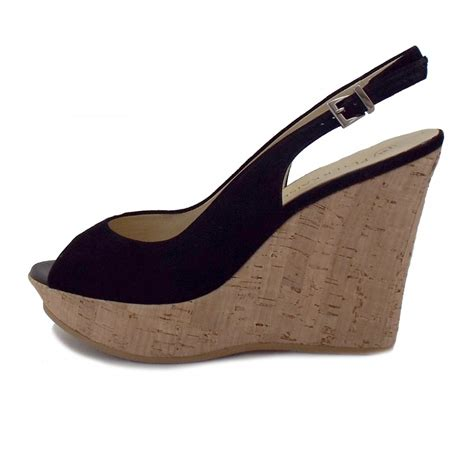 kaiser riga black suede evening wedge shoes