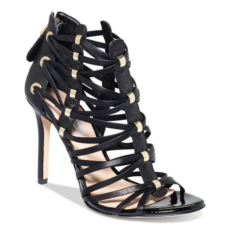 caged sandal guess s leday2 caged dress sandals in black lyst