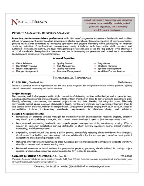Project Manager Resume by Project Manager Resume Sle Free