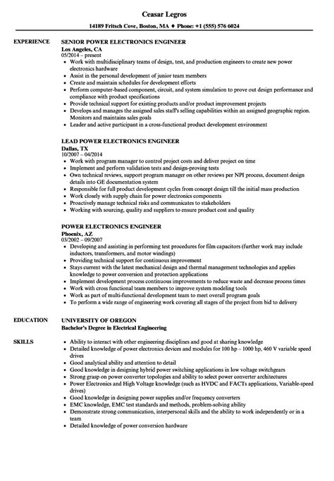 resume format for electronics production engineer power electronics engineer resume sles velvet