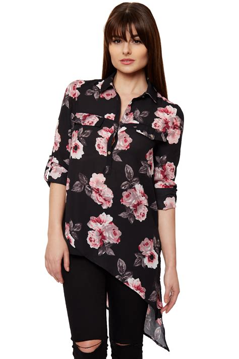 Blouse Impor Flower womens asymetric collar button up sheer floral black print shirt