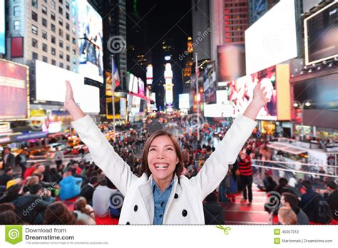 Are You Excited For The And The City by Happy Excited In New York Times Square Stock Photo
