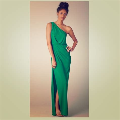 One Shoulder Maxi Dress 67 bcbgmaxazria dresses skirts bcbg green one