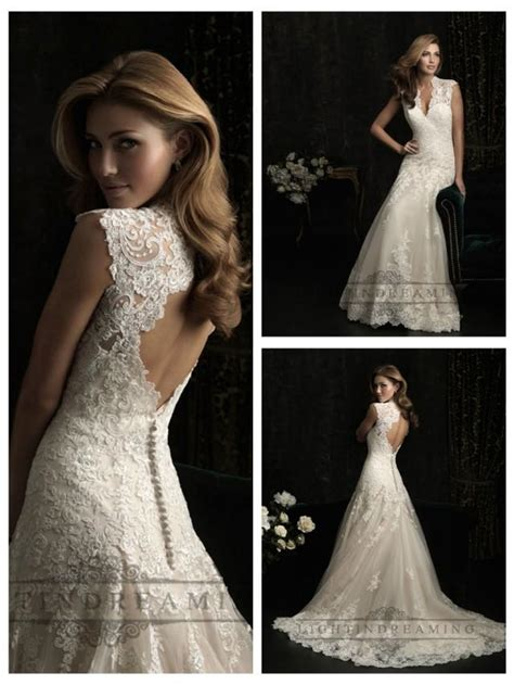 Wedding Hair For Keyhole Back Dress by Straps V Neck A Line Wedding Dresses With Keyhole Back