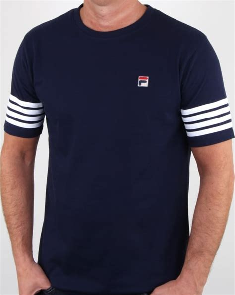 fila vintage 4 stripe t shirt navy crew neck striped mens