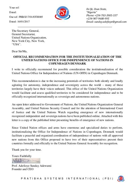 Reference Letter United Nations official recommendation letter for establishing the united