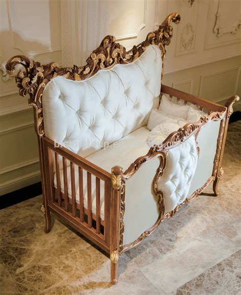 Handcrafted Baby Cribs - antique rococo beech wood customized new born baby bed