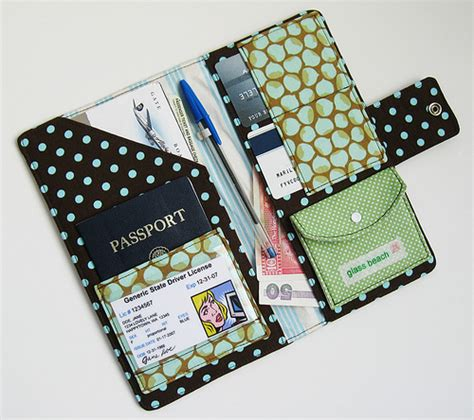 passport holder pattern free passport wallet retro blue dots explore glassbeach s