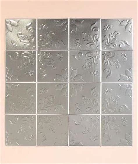 self adhesive backsplash wall tiles set of 16 embossed self adhesive silver tin kitchen bath