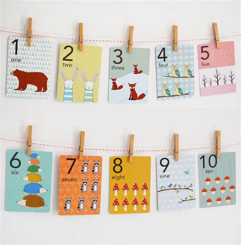 wall cards forest numbers counting card set nursery wall cards numbers