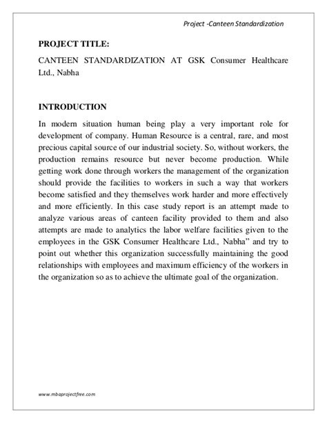 Introduction About Internship Mba by A Summer Internship Report On Canteen Standardization With