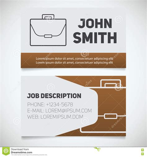 business card template with watermark briefcase icon company logo business concept