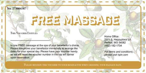 printable back rub gift certificates 20 massage voucher templates free sle exle