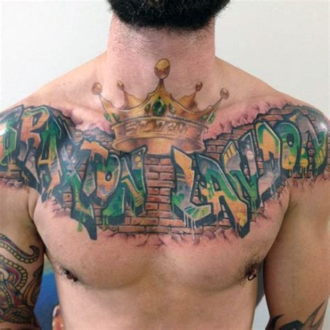 graffiti tattoo on chest graffiti style colored chest tattoo of wall lettering with
