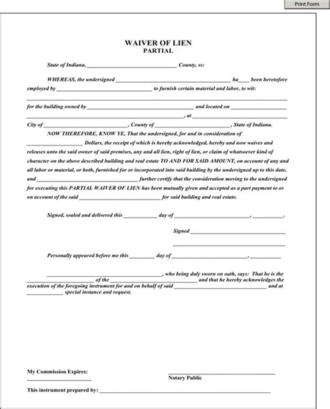Download Indiana Partial Waiver Of Lien For Free Formtemplate Partial Waiver Of Lien Template
