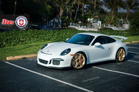 gold porsche gt3 porsche 911 gt3 with hre p106cl in brushed gold set