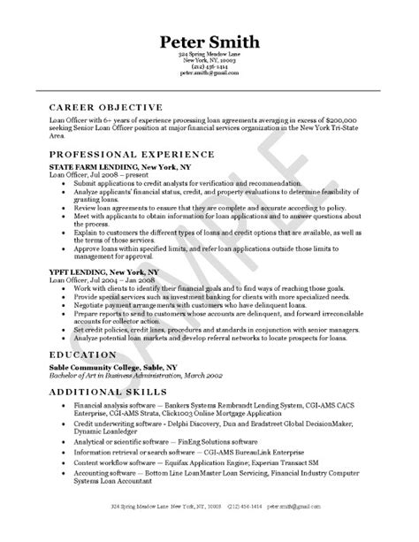 Mortgage Loan Officer Resume by Loan Officer Resume Exle